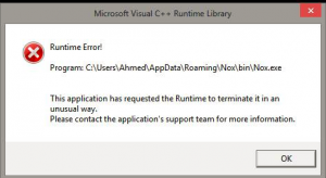 Microsoft Visual C++ Runtime Error