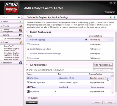 How to enable the high performance graphics card for AMD PC