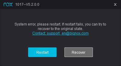 How to fix NoxPlayer Error 1017- System error, please restart
